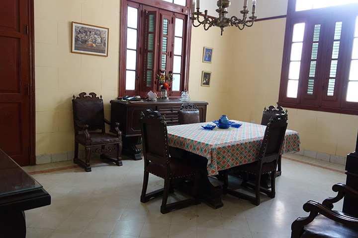 The dining room with the original furniture from early XX century