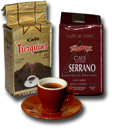 Cuban coffee, brands Turquino and Serrano